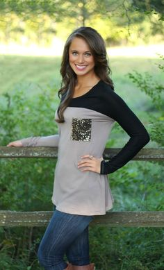 The Pink Lily Boutique - A Little Sparkle Mocha Blouse CLEARANCE!!, $25.00 (http://thepinklilyboutique.com/a-little-sparkle-mocha-blouse-clearance/)