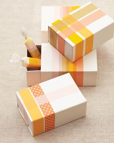 washi tape covered favor boxes