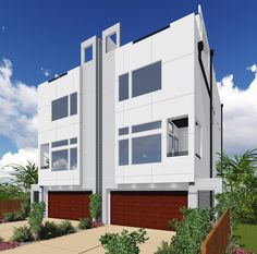 Modern Townhouse Duplex with Sundeck - 35913WY | 2nd Floor Master Suite, Butler Walk-in Pantry, CAD Available, Elevator, Narrow Lot, PDF | Architectural Designs