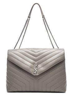 c510337ea5d Saint Laurent YSL Women s Monogramme Large Slouchy Chain Vitello Piumotto  Grey Shoulder Bag 457014