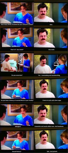 "Ron Swanson goes to the hospital. - Imgur. ""I have an uncle who does yoga."""
