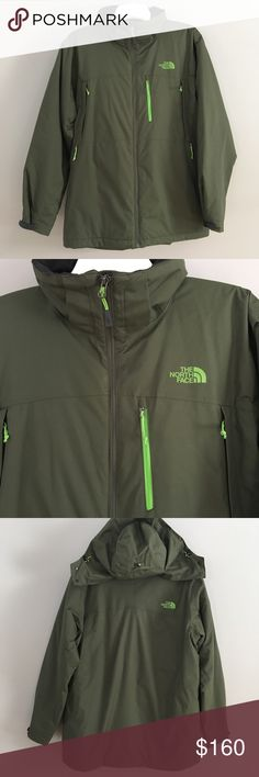 North Face Hyvent Men's hunter green coat North Face Hyvent Men's hunter green coat trimmed in an apple green. Detachable hood. 4 pockets. Never worn once. Bought this for my husband for Xmas and he never put it in. Brand new. The North Face Jackets & Coats Performance Jackets