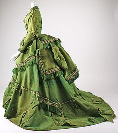 1868 American silk [day?] dress- certainly the bodice indicates day and not evening wear and the trailing skirts argue against it being a walking dress