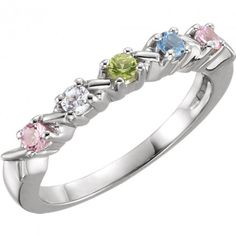 5 Stone Hugs and Kisses Mothers Ring*