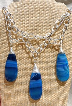 Blue Agate Necklace statement necklace bib necklace by FunNFiber