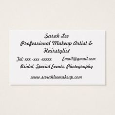 Makeup Artist Hairstylist Business Card