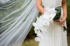Cascading white orchids wedding bouquet |