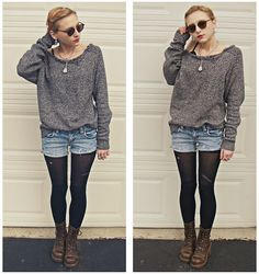 For some reason I love the long-sleeved-shirt-with-jean-shorts-over-tights-and-boots look a lot more than I used to. Gotta get me some tights and leggings.