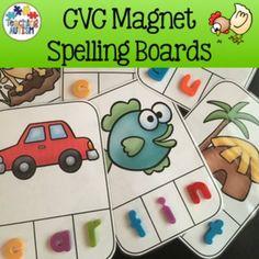 CVC Spelling Task Cards - Magnets, LettersThis resource contains 30 different task cards. There are 6 task cards per vowel - a,e,i,o,u. Each task card contains an image and 3 boxes below for students to either write in or to place magnetic letters/foam letters.I highly recommend cutting each task card out individually and laminating so that they will be stronger and longer lasting.Using magnetic or foam letters is a great way to make an activity more interactive and enjoyable for your…