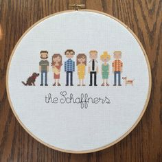 Let me cross stitch your family portrait! I will create a custom portrait based on your photos, description, and color preferences. Please provide a family photo after your purchase, and let me know if you want a certain color or style or clothing (e.g. suit, skirt, casual clothing). I can also do cats and dogs. The family name is stitched in cursive under the characters. The finished portrait comes trimmed in a wooden embroidery hoop as pictured, which can be hung on the wall. If you…