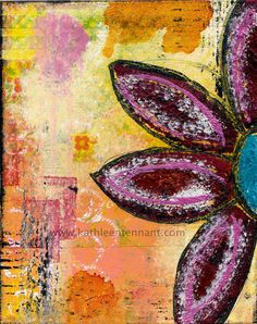 Abstract Flower 8x10 Mixed Media Art Print Home by KathleenTennant, $20.00