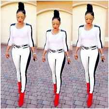 Womens Sexy Bodycon Cocktail Party  joint PU Leggings fashion 2 piece suit