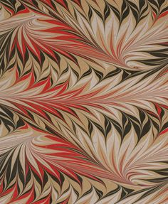 Modern 20th c. marbled paper, Whirl pattern