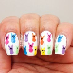 Baby Peeps Easter candy nails for spring