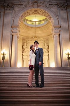 I love every single thing about this city hall wedding shoot