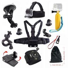 For Gopro Accessories Hero 4 5 Car suction cup Float stick Chest Mount strap SJCAM SJ4000 SJ5000 SJ5000X Gopro Action Camera 48
