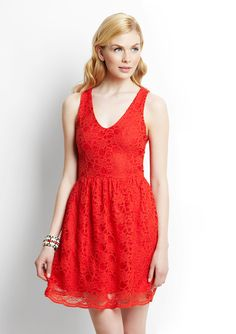 Eight Sixty Sleeveless V-Neck Lace Dress... too orange? idk.