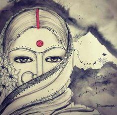 shee Eye Makeup k beauty eye makeup Zentangle, Pencil Art Drawings, Art Drawings Sketches, Madhubani Art, Indian Folk Art, India Art, Indian Art Paintings, Mandala Art, Painting & Drawing