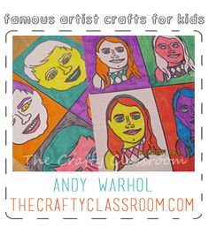 Andy Warhol art project. Start by showing Warhol's Campbel's soup cans and pop art portraits. Describe color theory (Complimentary colors, monocromatic, warm colors, cool colors...). Student traces a picture of themselves 1 time and photo copy 4 times. Use color theory combinations to fill in line art. Place on black paper for frame.