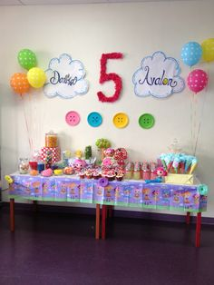 Lalaloopsy party --back drop table Birthday Ideas, Birthday Cake, Lalaloopsy Party, Candy Buffet, Party Time, Backdrops, Alice, Birthdays, Parties