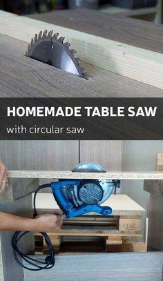 Homemade table saw by using regular circular saw.
