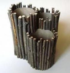 Preschool Crafts for Kids*: Father's Day Twig Pencil Holder Craft . adapt this for flowers or utensils or? Camping Crafts For Kids, Crafts For Kids To Make, Toddler Crafts, Preschool Crafts, Kids Crafts, Arts And Crafts, Camping Ideas, Kids Diy, Paper Roll Crafts