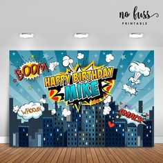 Superhero Backdrop for boys Party Banner Poster Signage