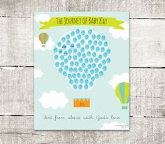 Thumbprint Guestbook Hot Air Balloon Baby Shower 16x20 by MossyJojo