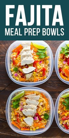 Meal prep chicken fajita lunch bowls with fresh veggies, rice, and chicken breast all tossed in a tangy fajita vinaigrette! An easy make ahead lunch recipe!#sweetpeasandsaffron #mealprep #lunch #chicken #glutenfree #salad #fajita