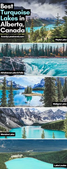 Incredible turquoise blue lakes in Alberta, Canada! Melting glaciers may create some very cold water, but the combination of light refracting of rock flour ground up by the glaciers creates the brilliant emerald glow of these lakes. Some of these lakes include Lake Louise, Maligne Lake, Peyto Lake and Moraine Lake. Discover 10 Amazing Things To See And Do In Alberta, Canada on avenlylanetravel.com. It is the perfect destination for the outdoorsy person. #avenlylanetravel #canada #travel