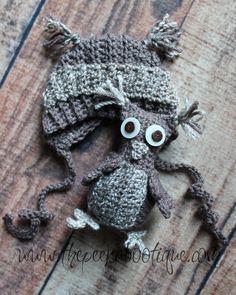 OwlingtonTiny Owl and Bonnet: Peek A Bootique