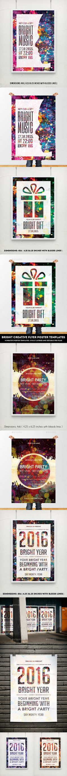 Bright Creative Flyer Poster Template PSD #design Download: http://graphicriver.net/item/bright-creative-flyer-poster-templates/14213880?ref=ksioks