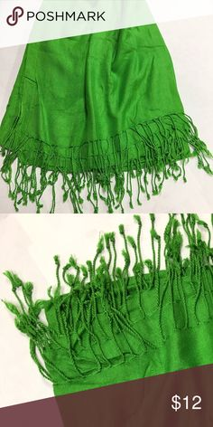 Bright Green Pashmina Scarf Great condition. Lovely green pashmina shawl. Large and long so it can be used as a scarf, shawl, a sarong or a mid weight wrap. Accessories Scarves & Wraps
