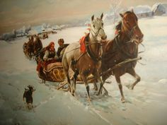 VINTAGE HUGE RUSSIAN CANVAS OIL PAINTING SLEIGH RIDE WITH HORSES WINTER SCENE | eBay Christmas Horses, Dashing Through The Snow, Winter Scenes, Oil Painting On Canvas, Worlds Largest, Camel, Animals, Ebay, Vintage