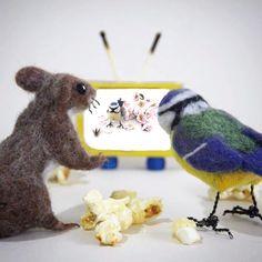 Mish Mash Mosh on Folksy Needle Felted Animals, Needle Felting, November Crafts, Blue Tit, Theatre Design, Retro Advertising, Mish Mash, Textile Artists, Stop Motion