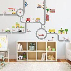 DW-1204 Decowall Straßen und Autos kinder zimmer Peel & Stick Nursery Wandtattoo Aufkleber