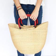 African Bolga Basket market basket shopping basket by CacoandKai
