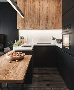The 50 BEST BLACK KITCHENS - kitchen trends you need to see. It is no secret, in the design world, that dark kitchens are all the rage right now! Black kitchens have been popping up left and right and we are all for it, well I am anyways! Stylish Kitchen, Modern Kitchen Design, Interior Design Kitchen, Kitchen Decor, Kitchen Colors, Modern Design, American Kitchen Design, Decorating Kitchen, Rustic Design
