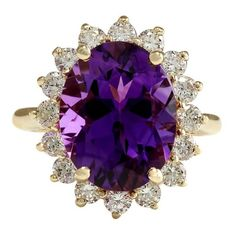 Pre-owned 14K Yellow Gold Amethyst Diamond Ring Size 6.25 ($1,380) ❤ liked on Polyvore featuring jewelry, rings, 14 karat gold ring, 14 karat gold diamond ring, pre owned diamond rings, yellow gold rings and 14k ring