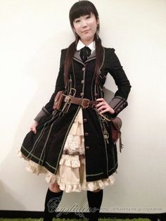 crystaline:  today's my steampunk lolita dress - Ozz On skirt - bodyline over skirt - Ozz On blouse - no brand belt pouch - remake
