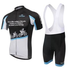 Men's Black Short Sleeve Cycling Jersey Set #Cycling #CyclingGear #CyclingJersey #CyclingJerseySet