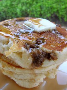 Sausage Pancakes...1 1/2 cups all-purpose flour 3 1/2 tsp baking powder 1 tsp salt 1 Tbsp white sugar 1 tsp vanilla extract 1 1/4 cups milk 1 egg 3 tablespoons butter, melted 1/2 lb sausage, cooked and crumbled