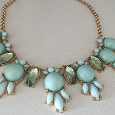 Pretty blue and gold gem necklace Dresses up any outfit  Chain measures 19 inches Jewelry Necklaces