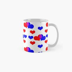Two Hearts, Blue Backgrounds, Red And Blue, Finding Yourself, Ceramics, Mugs, Tableware, Unique, Artist
