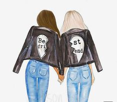 Best friends personalized wall art multi cultural friends fashion illustration print gift for sister twin roommate add name to the print Drei beste freunde Best Friend Pictures, Bff Pictures, Best Friend Quotes, Bff Pics, Friends Mode, Girly Drawings, Drawings Of Friends, Cute Best Friend Drawings, Best Friend Sketches