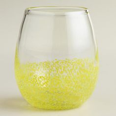 Yellow Confetti Stemless Wine Glasses, Set of 4 | World Market