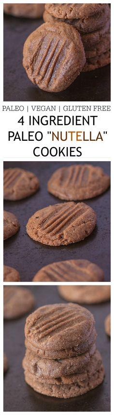 "Healthy 4 Ingredient Paleo ""Nutella"" Cookies- Just FOUR ingredients, 12 minutes and 1 bowl. Go on, these are my Go to cookies- Check out the directions for a chewy or a crispy method!"