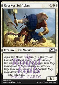 **4x FOIL Oreskos Swiftclaw** MTG M15 Core Set Common MINT white cat warrior
