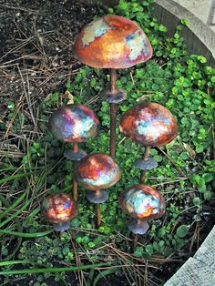 Handmade Copper Mushrooms Sculpture Set of Six for Home by Texturz