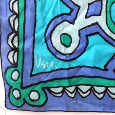 Vintage Vera Scarf. Bold green and blue abstract design by Kultur
